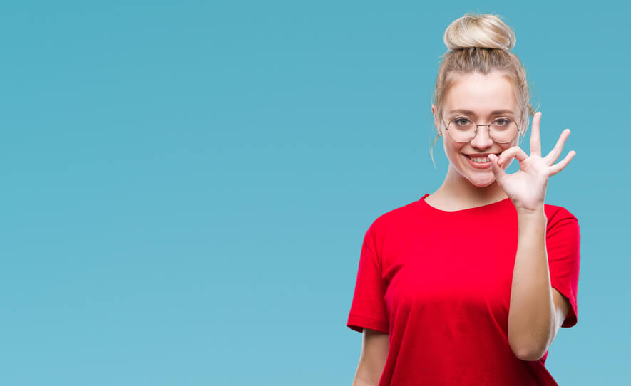 Blond girl on blue background for young adults category text