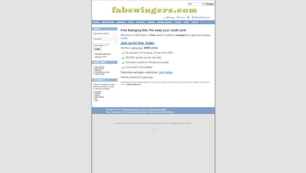 Homepage of FabSwingers dating site
