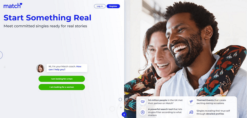 landing page of match.com with hugging, happy couple