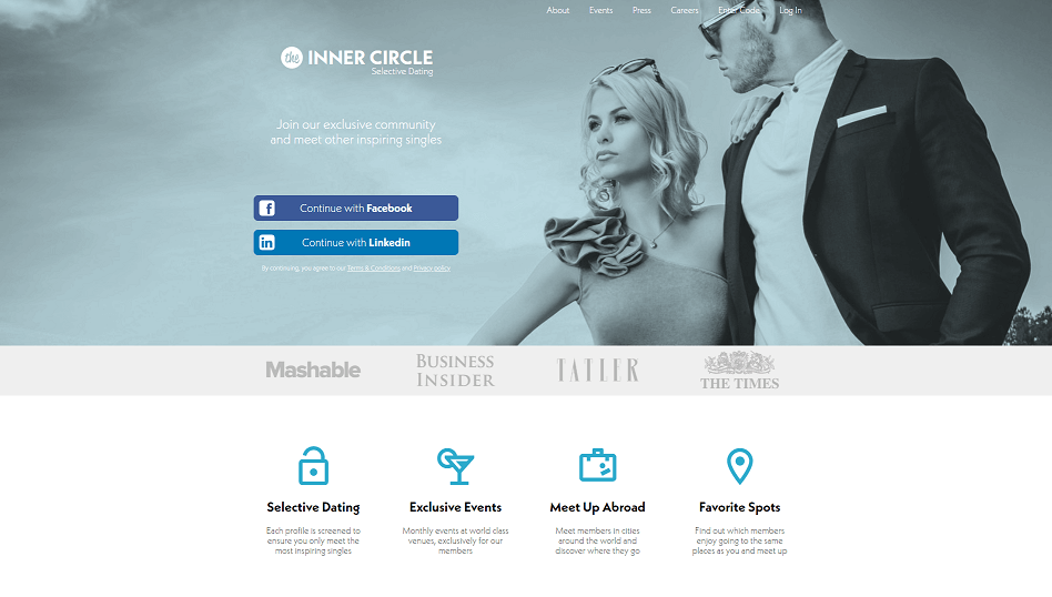 Inner Circle Registration Page, fancy and elegant couple looking  charming