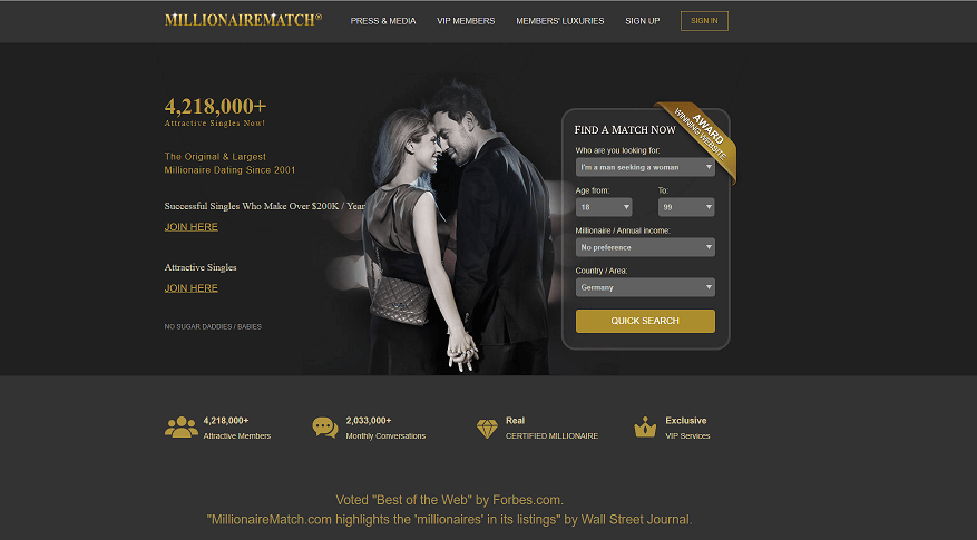 Millionaire Match home page, a young and fancy couple holding their hands on a black and white classic background