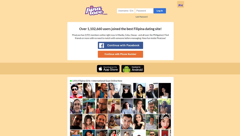 login screen of pinalove dating site. very simple lay out. lower part has contains brief overview of singles using this online dating site.