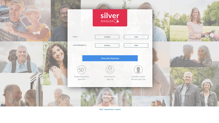 The homepage of SilverSingles dating site.