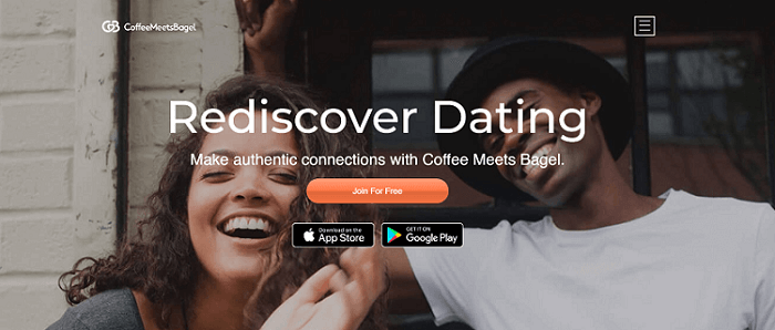 Homepage of dating site CoffeeMeetsBagel with faces of happy, young man and woman