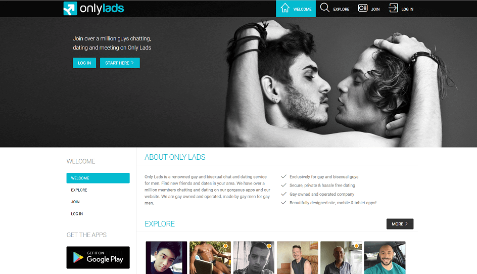 landing page of only lads. in the background two men are seen hugging and kissing