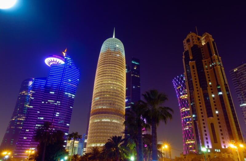 Qatar Doha Tower at night