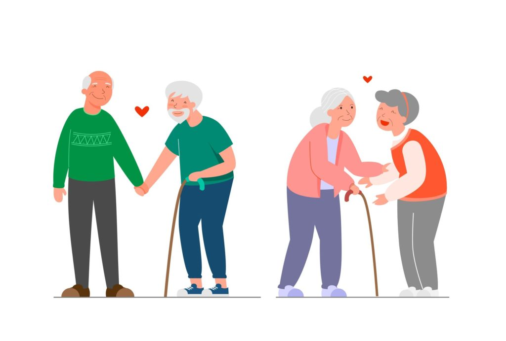 A cartoon image of  gay and lesbian senior couples happily holding hands.