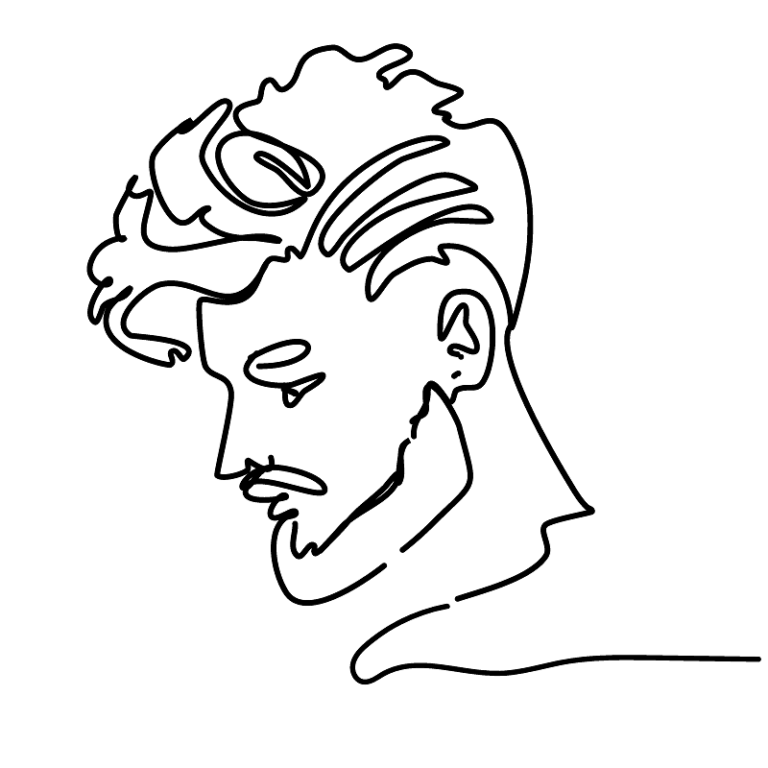 black line profile drawing of a ghost fuckboy