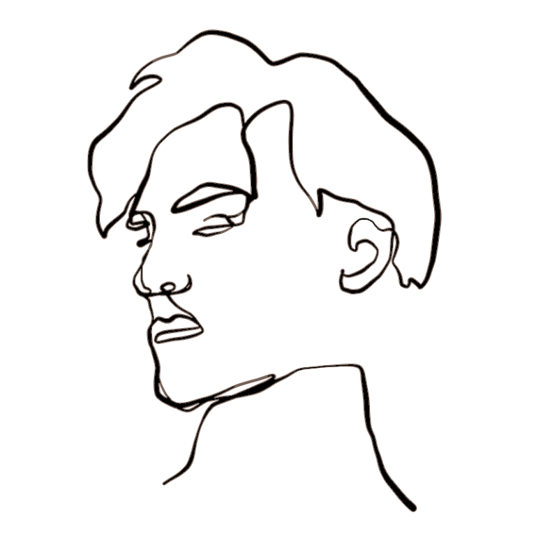 black line profile drawing of a daddy or mommy's fuckboy