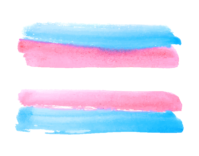 Trans flag done with water color