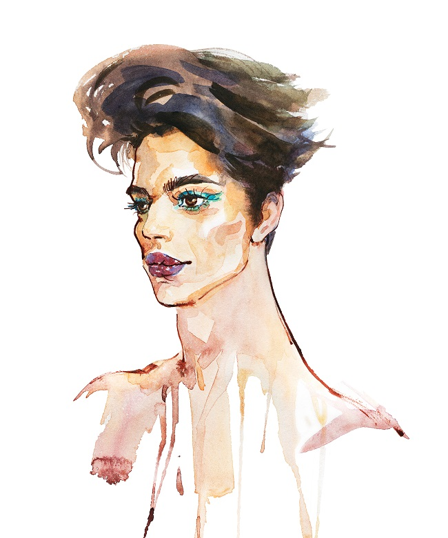 Watercolor of a generic trans celebrity or model