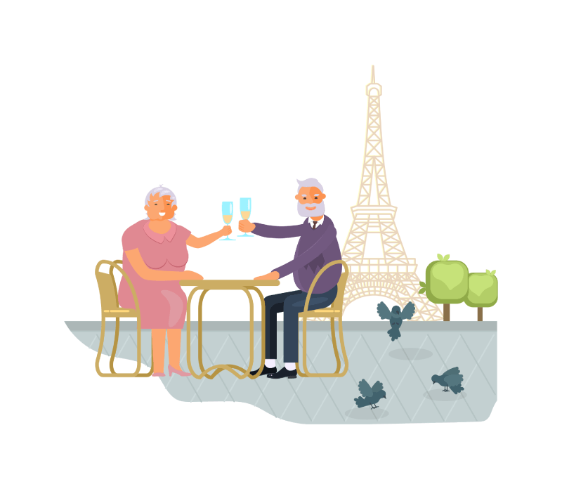 over 50s couple drinking champagne in paris