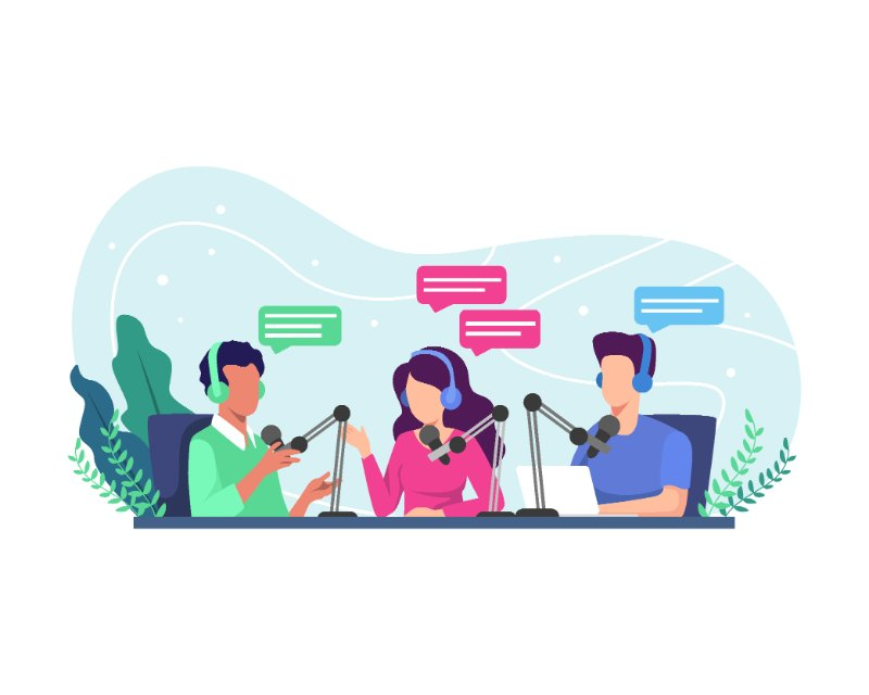 vector art of people recording each other talking