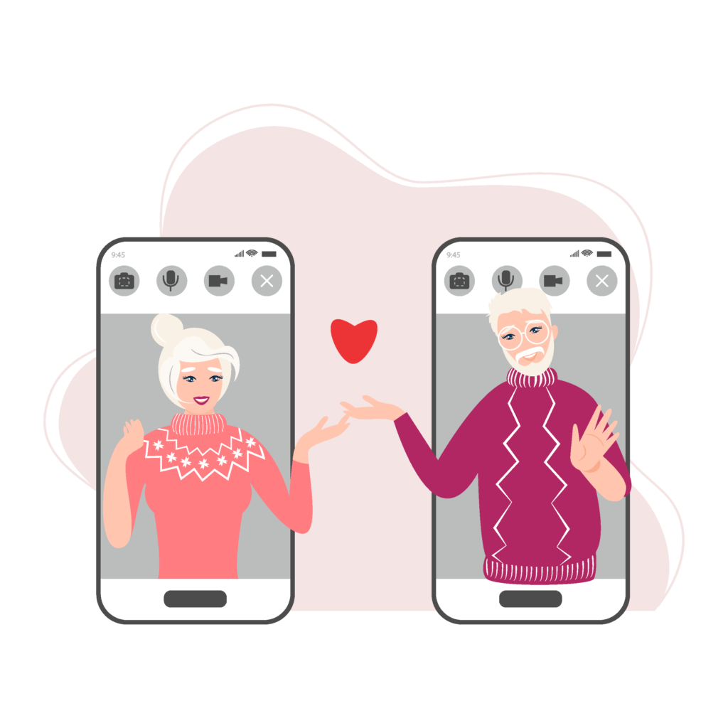 Two smartphones showing a loving couple