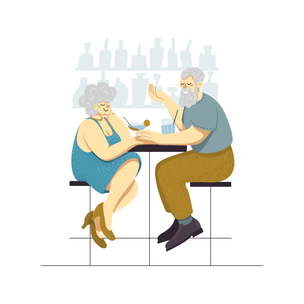 Man and woman sitting in a bar and having drinks