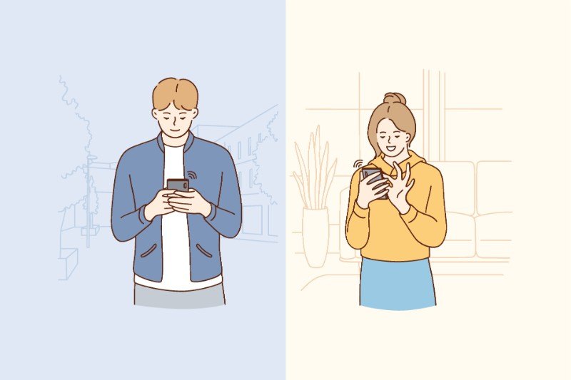 Vector art of couple messaging each other
