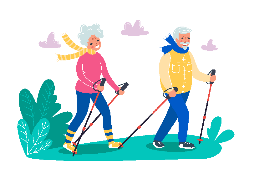 Vector image with an over 50 couple hiking