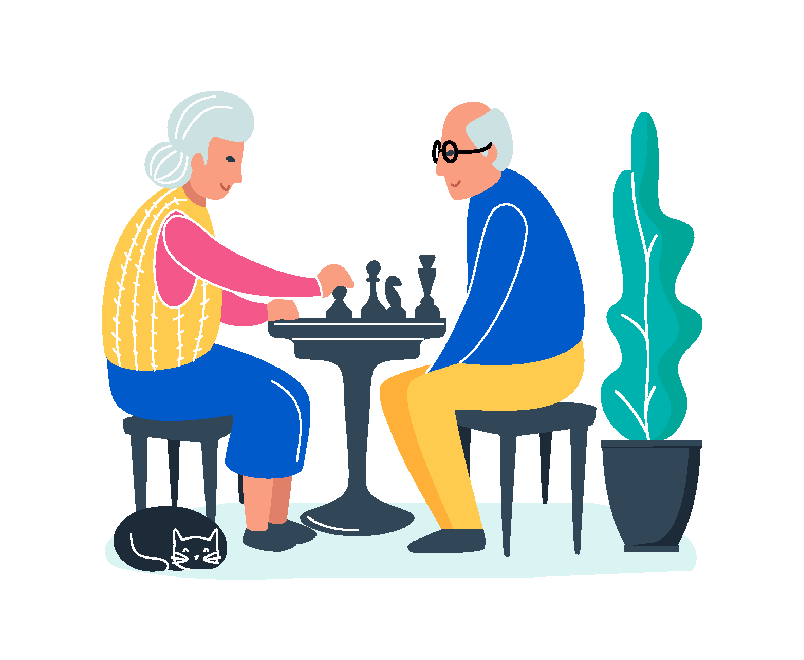 Over 50 couple play chess