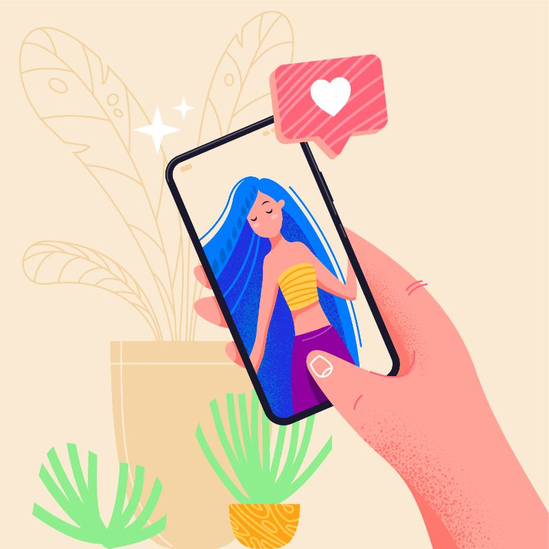 vector art of someone flirting on their smartphone with a women