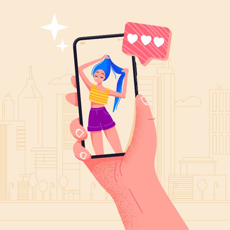 vector art of someone looking at a woman on their smartphone screen