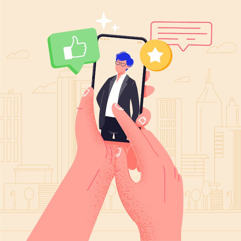 vector art of someone flirting with a guy via their phone