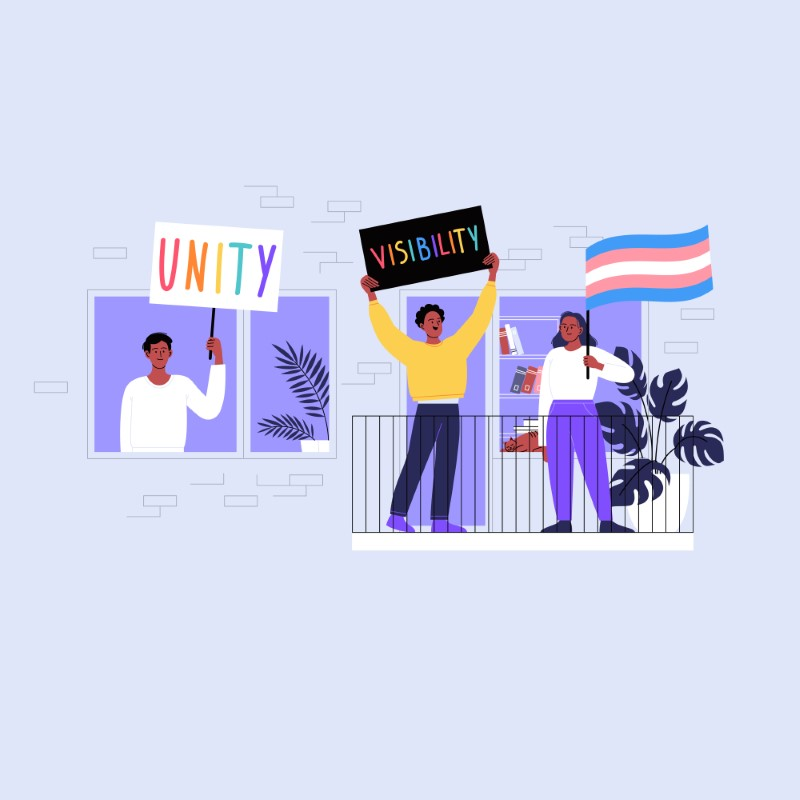 graphic showing three queer people of color with protest signs