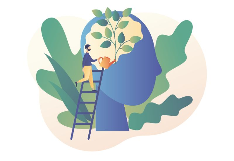 Vector art of a man improving confidence as represented by watering a plant in a person's head