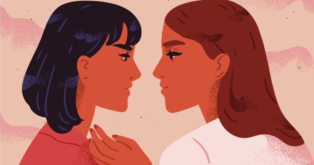 two illustrated lesbian women staring into each other's eyes