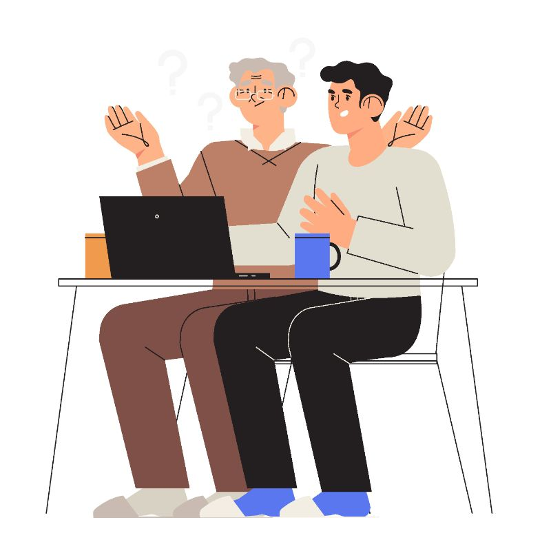 illustration of a younger man explaining something on the laptop to an older man