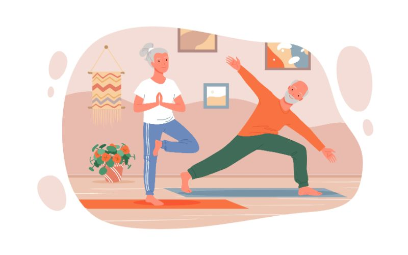 vector art of two seniors doing yoga together