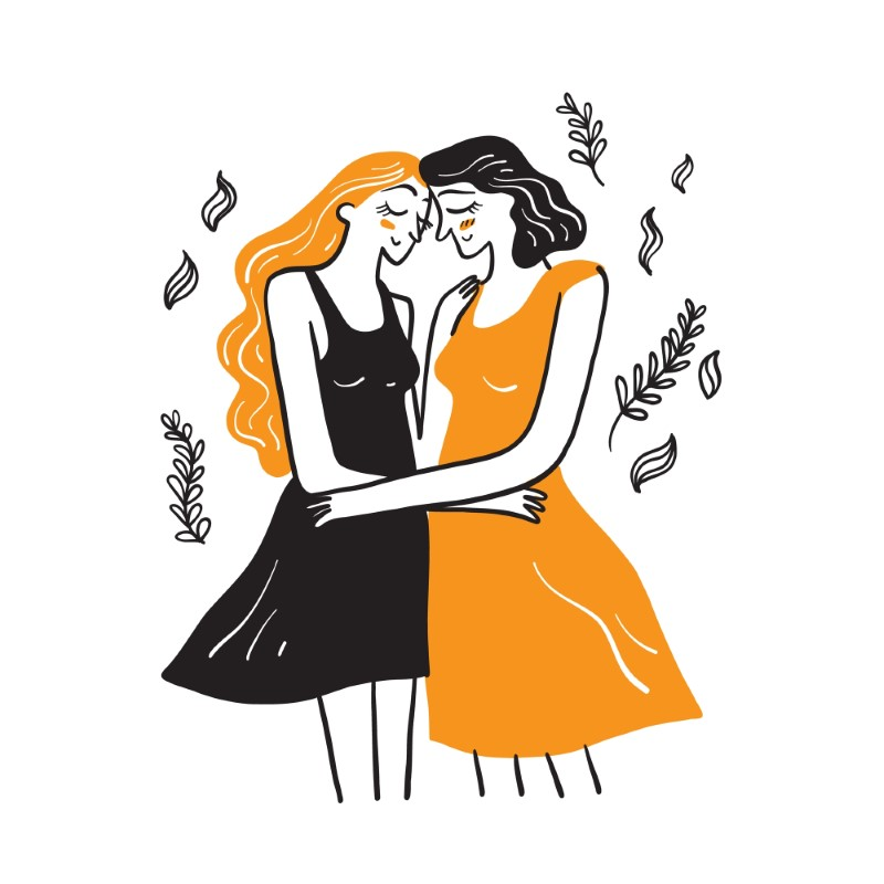 two illustrated bi women hugging each other