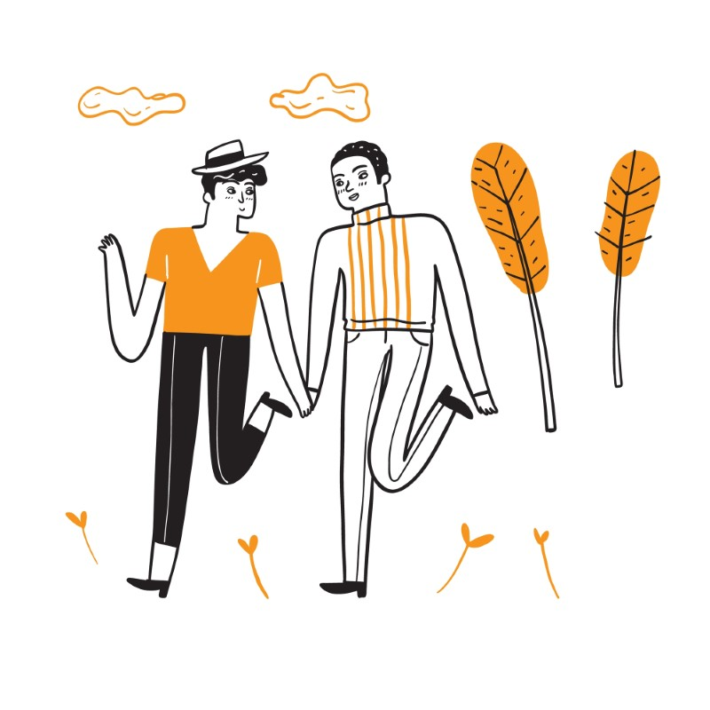 two illustrated male persons holding hands