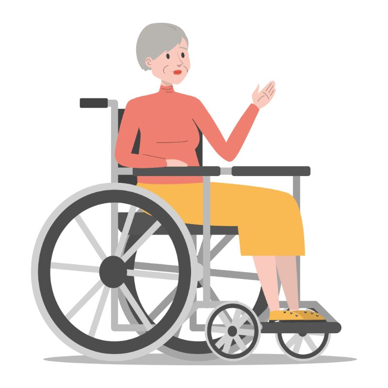 illustration of elderly woman in a wheelchair