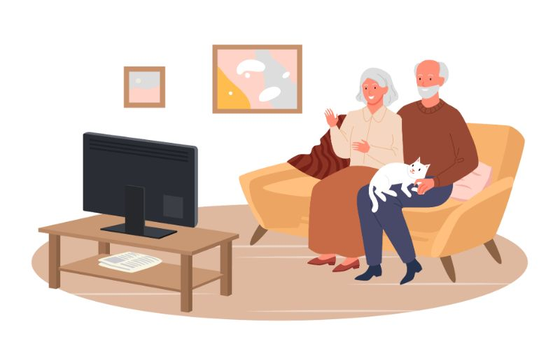 vector art of two seniors sitting on a couch watching TV together
