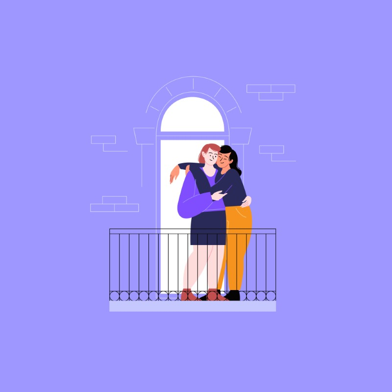 vector art of two women hugging on their balcony