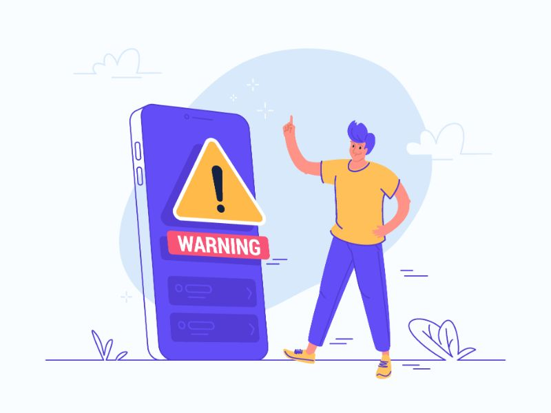 vector art of a person next to a phone that shows a warning