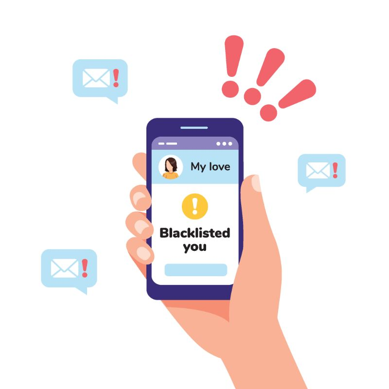 illustrated phone showing someone being blacklisted from their loved one