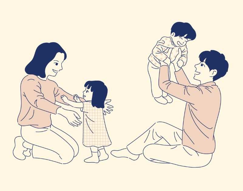 illustration of a happy family with two kids